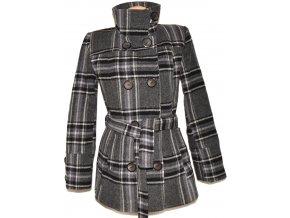 Vlněný dámský šedočerný károvaný zateplený kabát s páskem STIMA 40