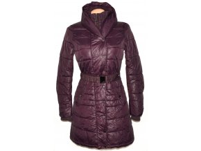 Dámský šusťákový fialový kabát s páskem a límcem Reserved 36