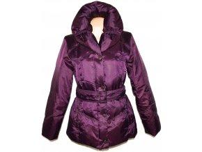 Péřový dámský šusťákový fialový kabát s páskem, límcem Marks&Spencer L
