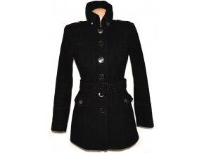 Vlněný (80%) dámský černý kabát s páskem C&A - YESSICA XL