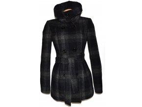 Vlněný dámský šedočerný zateplený kabát s páskem Flame