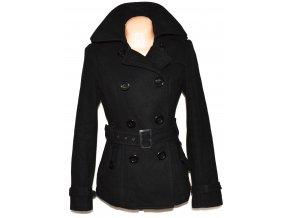 Vlněný dámský černý kabát s páskem CLOCKHOUSE L