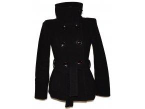 Vlněný (80%) dámský černý kabát s páskem ZARA