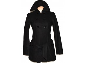 Vlněný dámský černý kabát s páskem PROMOD S