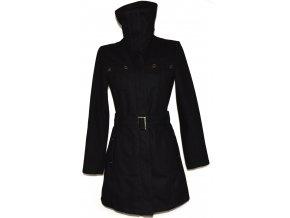 Vlněný dámský černý kabát na zip, s páskem L/XL