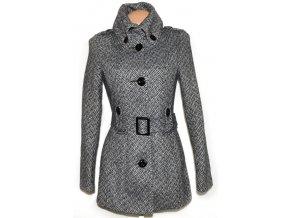 Vlněný dámský černobílý kabát s páskem AMISU M