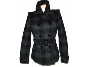Vlněný dámský šedočerný kostkovaný kabát s páskem C&A