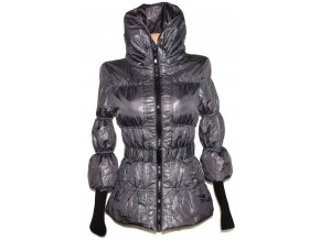 Dámský šusťákový šedočerný kabát s páskem ORSAY S - kohoutí stopa