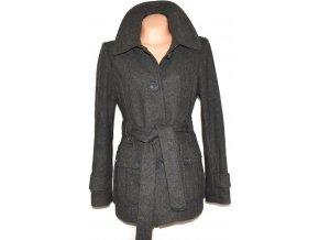 Vlněný dámský šedý kabát s páskem H&M XL