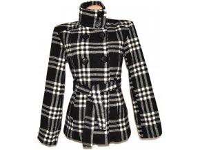 Vlněný (90%) dámský černobílý kabát s páskem M, L