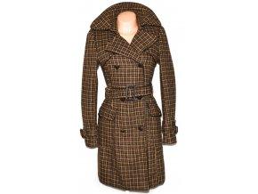 Vlněný dámský dlouhý hnědobéžový kabát s páskem CAMAIEU M