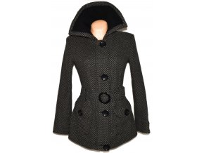 Vlněný dámský šedočerný kabát s páskem Fresh Made M, L