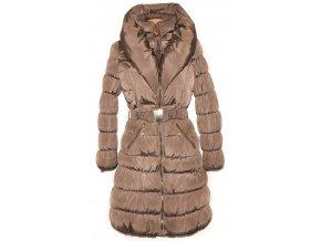 Dámský dlouhý šusťákový hnědý kabát s páskem límcem L
