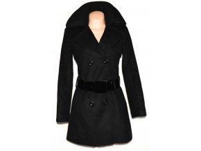 Vlněný dámský černý kabát s páskem F&F S