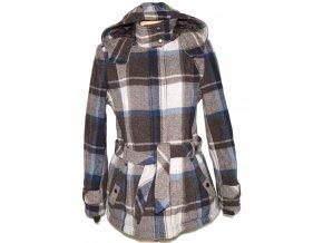 Vlněný dámský kostkovaný kabát s páskem a kapucí ESPRIT 42 / XL