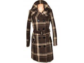 Dámský hnědý dlouhý kabát s páskem XXL