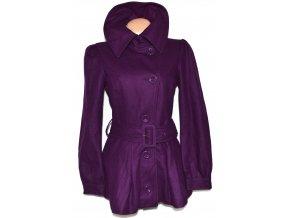 Vlněný dámský fialový kabát s páskem VERO MODA L