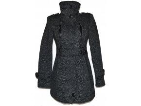 Vlněný dámský šedočerný kabát s páskem Bershka S