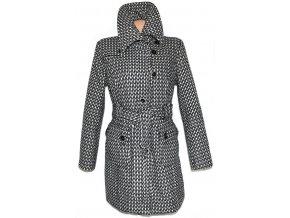 Dámský šedo-černo-bílý kabát s páskem, límcem ORSAY L