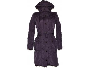 Dámský šusťákový fialový kabát s páskem a kapucí Otello S