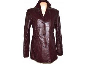 KOŽENÝ dámský měkký hnědý/ vínový kabát K.K.M. L/XL