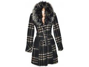 Vlněný dámský šedý kabát s páskem a kožíškem L