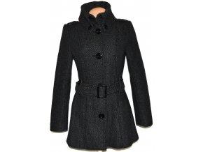 Vlněný dámský šedočerný kabát s páskem AMISU XS, M