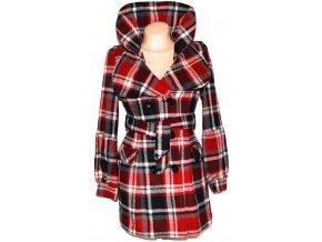 Vlněný dámský černočervený kabát s páskem Otello