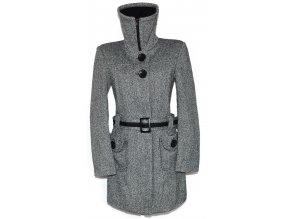 Dámský šedočerný kabát s páskem a límcem ORSAY XS, L