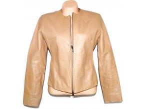 KOŽENÁ dámská béžová / hnědá měkká bunda na zip Mauritius L