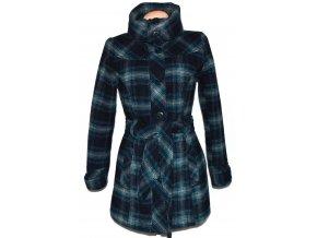 Vlněný dámský modrý kabát na zip s páskem S