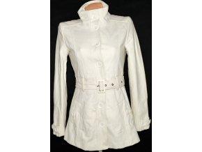 Vlněný dámský smetanový kabát s páskem Clockhouse M