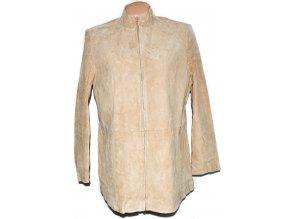 KOŽENÁ dámská béžová broušená bunda na zip Damart XXL
