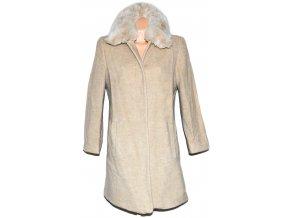 Vlněný dámský béžový kabát s kožíškem Windsmoor L/XL
