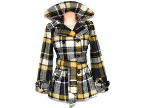 Dámský károvaný žlutočerný kabát s páskem GATE S, M, L