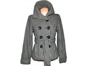 Vlněný dámský černobílý kabát s páskem - kohoutí stopa Evie M