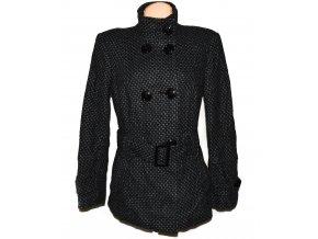 Vlněný dámský puntíkovaný kabát s páskem C&A 16/42