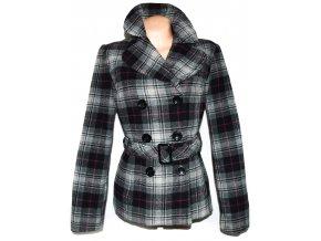Vlněný dámský šedý kabát s páskem M, M/L
