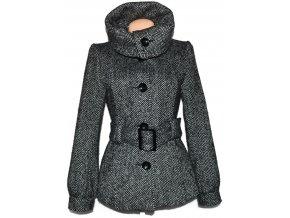 Vlněný dámský melírovaný kabát s páskem H&M