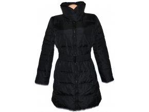 Péřový dámský černý šusťákový kabát s páskem ZARA M, XL