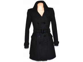 Vlněný dámský šedočerný kabát s páskem CAMAIEU L