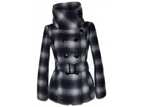 Vlněný dámský kostkovaný kabát s páskem Fresh Made S