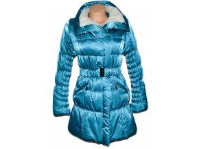 Dámský tyrkysový šusťákový kabát s páskem, kožíškem M