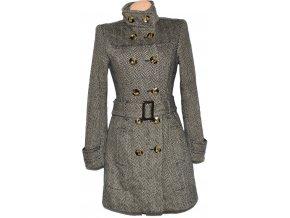 Dámský hnědý melírovaný kabát s páskem Reserved 44