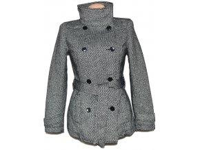 Dámský černobílý zateplený kabát s páskem TERRANOVA S