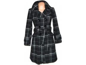 Dámský šedý kostkovaný kabát s páskem Select S/M