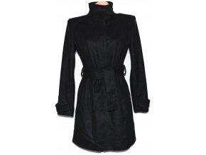 Vlněný dámský černý kabát s páskem ZARA M