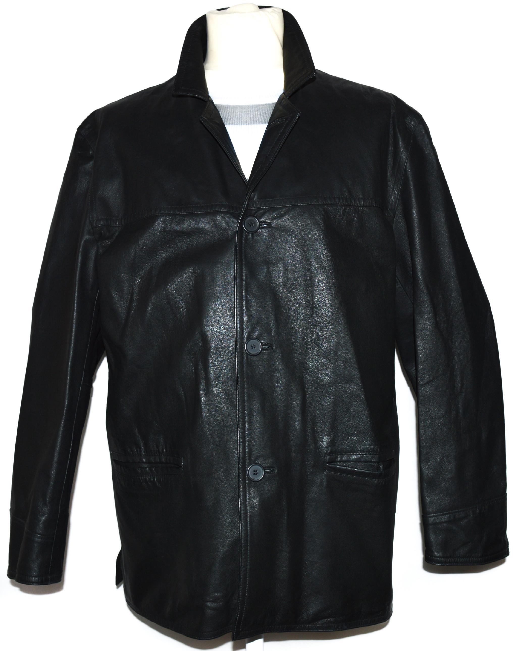 KOŽENÁ pánská černá měkká bunda L