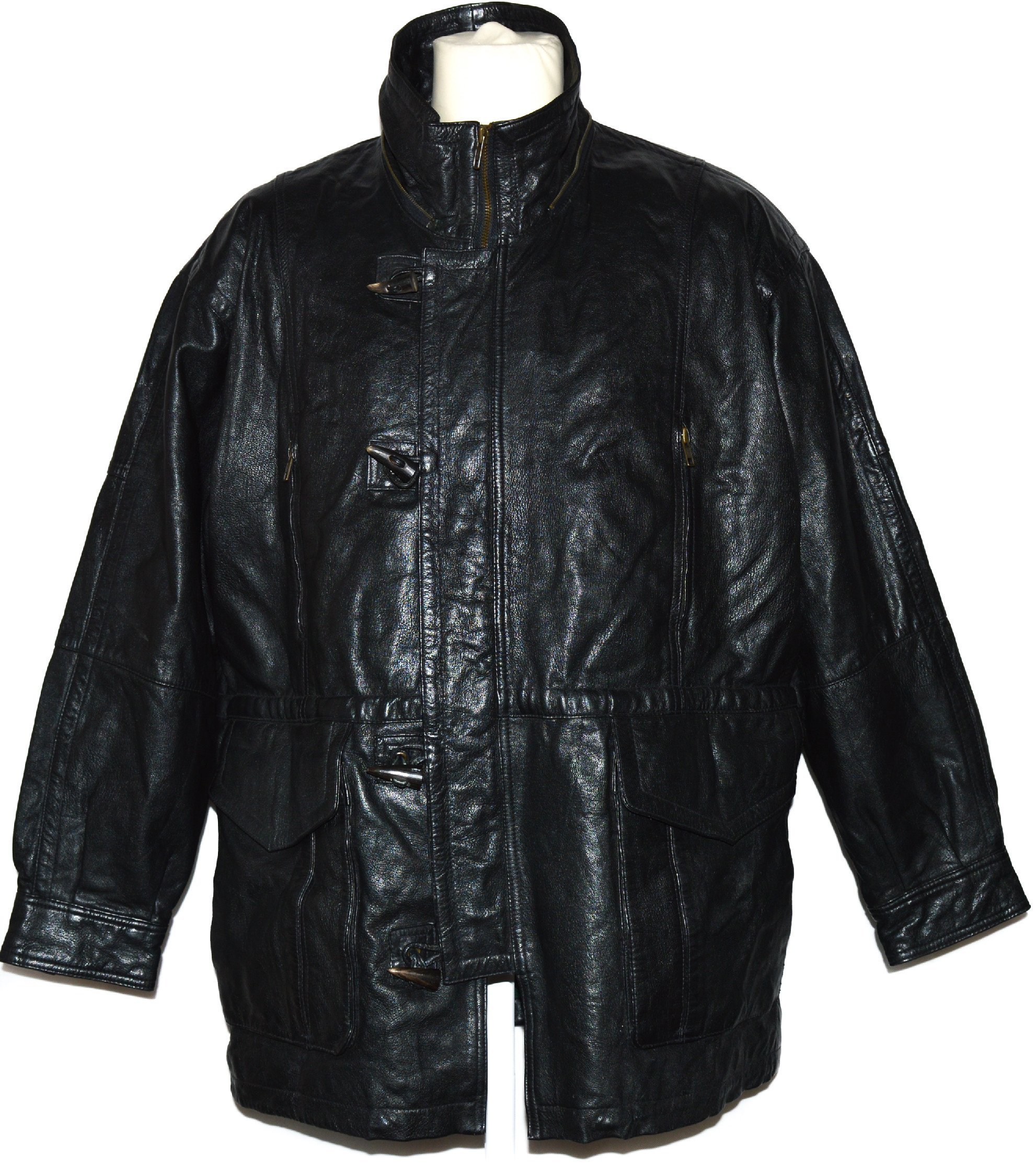 KOŽENÁ pánská černá bunda na zip a vidlice Gapelle XL