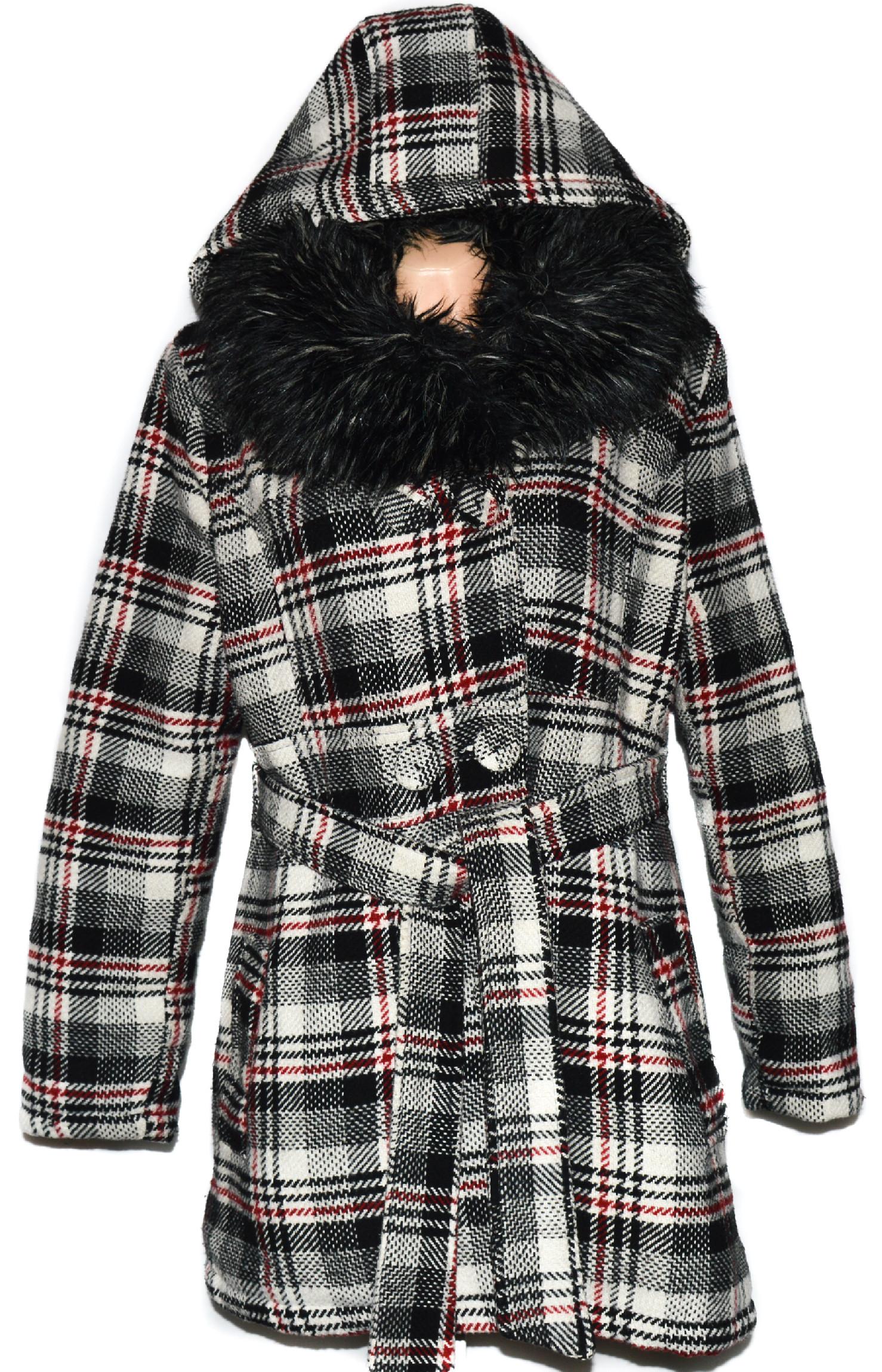 Vlněný dámský zateplený kabát s páskem a kožíškem L